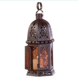 Mystical Metal Amber Glass Candleholder Lantern